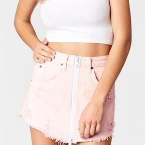 NWT LF Pink Beatrice Zip Front Skirt